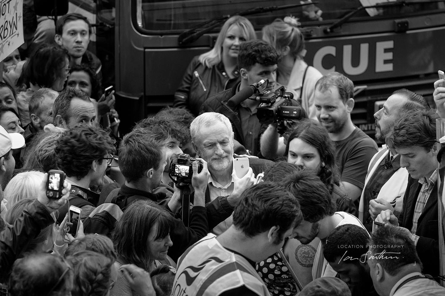 Crowd scene with Jeremy Corbyn, editorial photograph